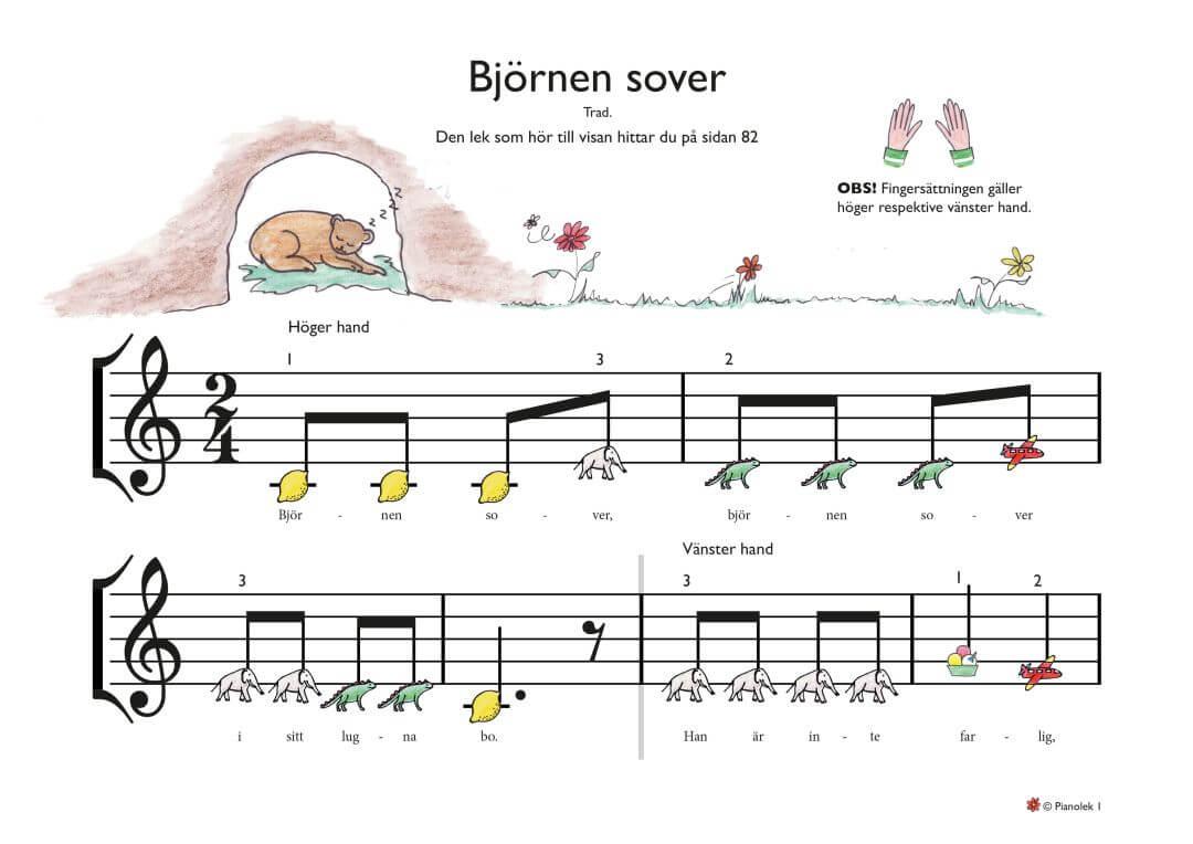Bjoernen sover piano noter barn