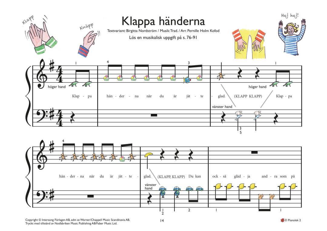 Klappa haenderna piano noter barn