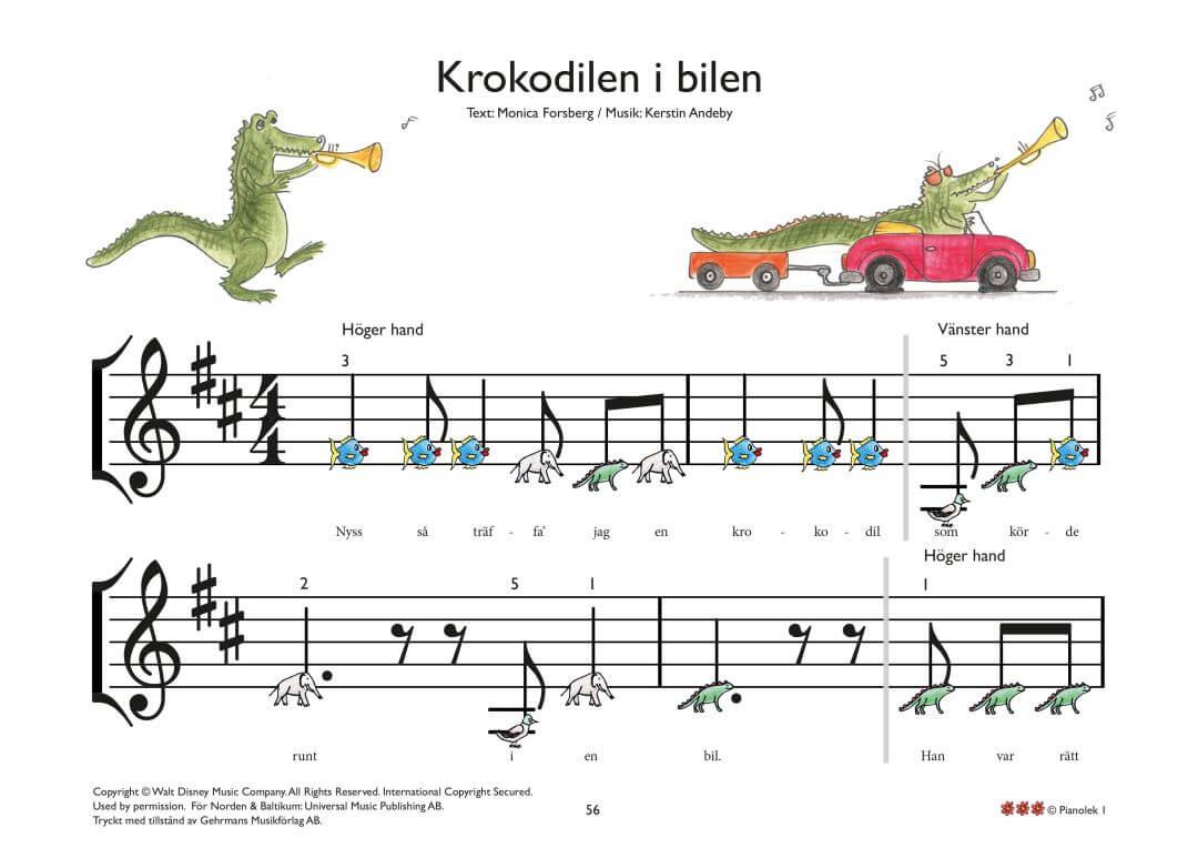 Krokodilen i bilen piano noter barn