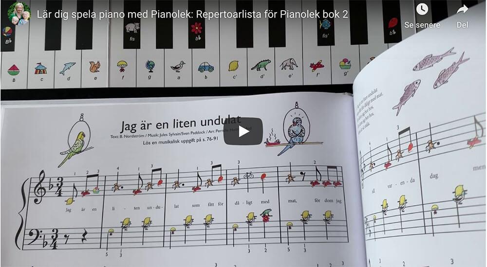 Repertoarlistan för Pianolek bok 2 – sjung med!