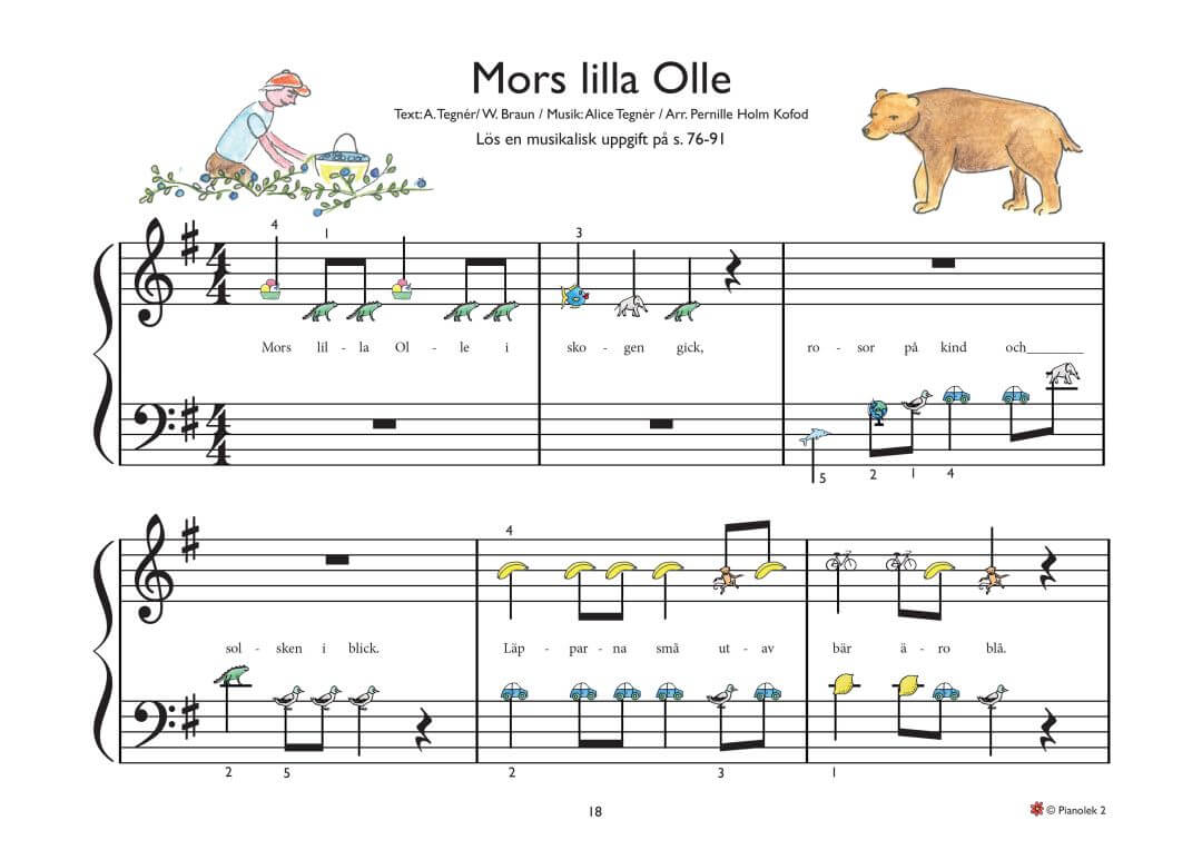 Mors lille Olle piano noter barn